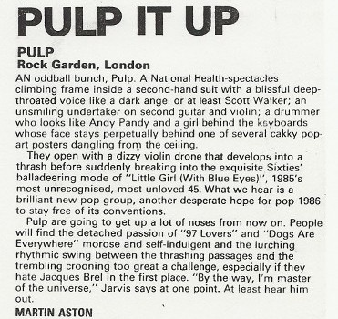 Pulp - Rock Garden 1986 MM review